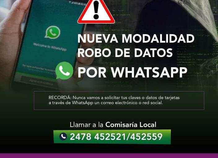 Alertan sobre modalidad de robo de datos por Whatsapp
